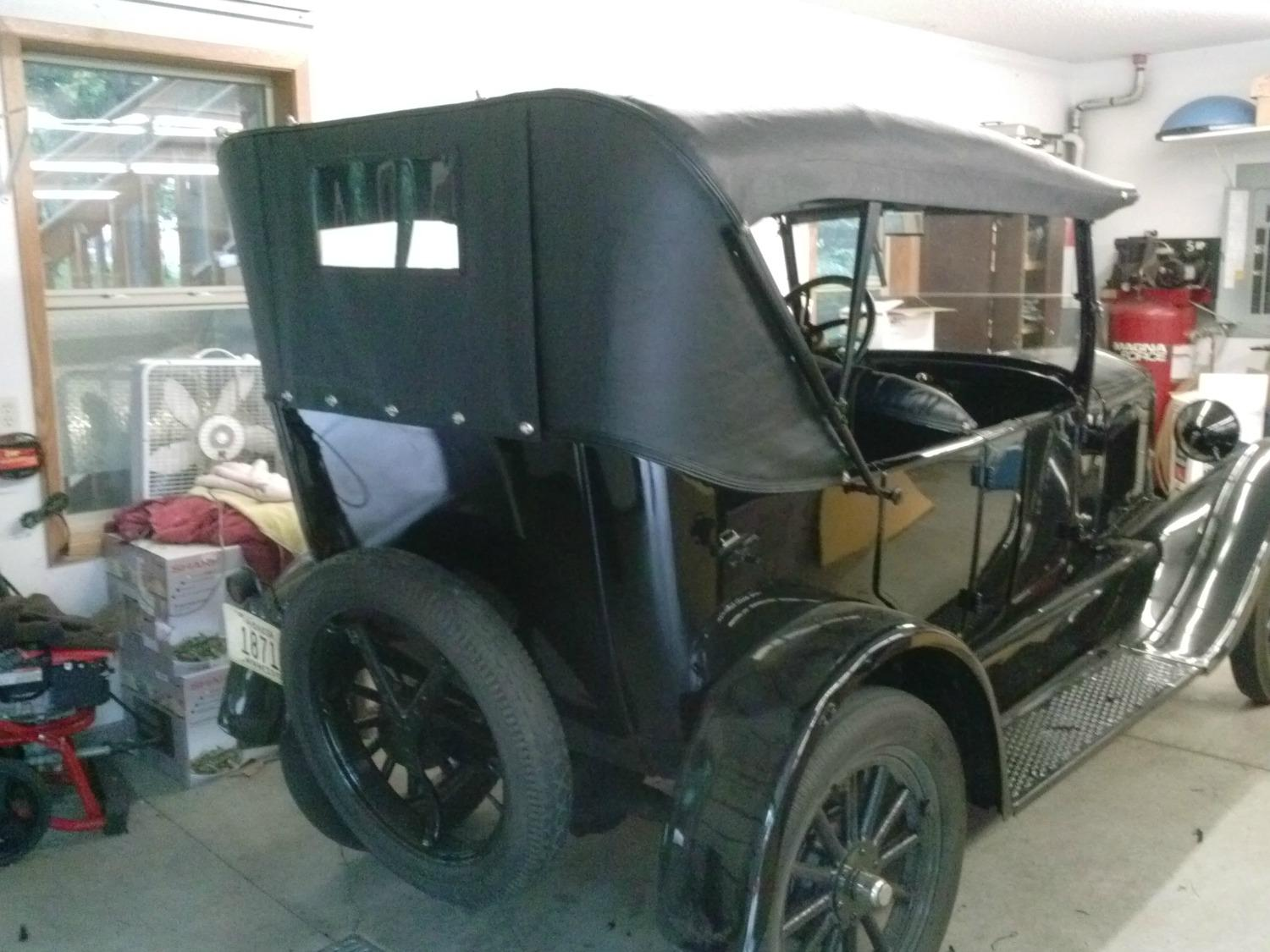 Model T Top with a roll up rear curtain down 1500